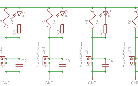 Schematic of the homebrew 40A Power Pole distribution unit.